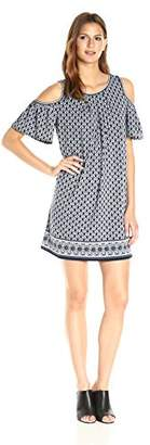 Max Studio Women's Printed Matte Jersey Cold Shoulder Dress