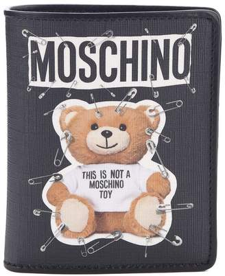 Moschino Safety Pin Teddy Bi-fold Saffiano Faux-leather Wallet