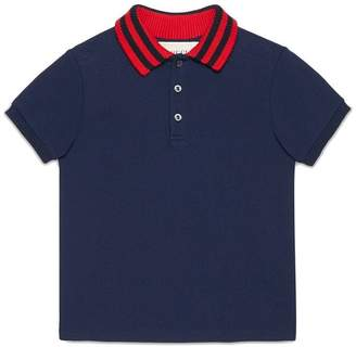 Gucci Kids Baby cotton polo with Web collar