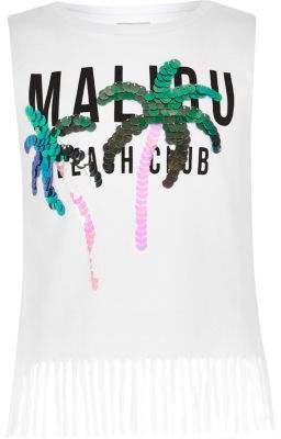 River Island Girls white 'Malibu' sequin tassel tank top