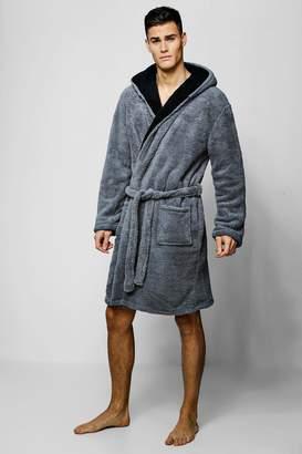 2295b7c6820f ... boohoo Mens Shaggy Fleece Robe With Contrast Lining