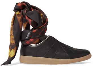 Maison Margiela - Leather Sneakers - Black $875 thestylecure.com