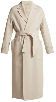 Max Mara S Tie Waist Wool Wrap Coat - Womens - Ivory