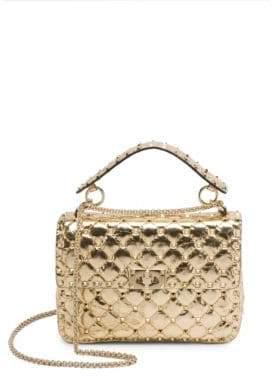 Valentino Medium Rockstud Spike Metallic Leather Shoulder Bag
