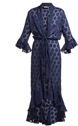 Adriana Degreas Polka Dot Fil Coupe Tie Waist Dress - Womens - Navy