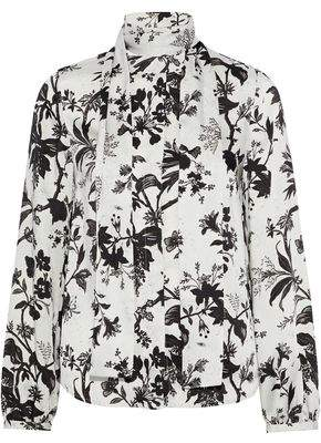 McQ Pussy-Bow Floral-Print Satin-Twill Blouse