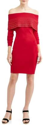 Say What Long Sleeve Marilyn Neck Dress with Gold Studs
