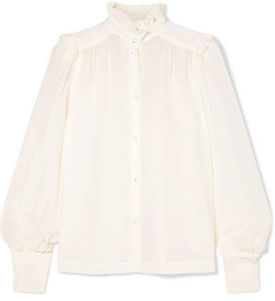 Anna Mason - Deneuve Ruffled Silk Crepe De Chine Blouse - Cream