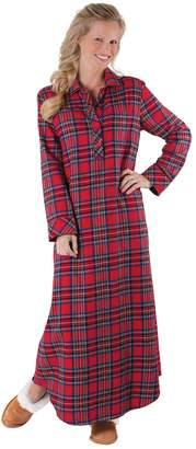 PajamaGram Women's Stewart Plaid Cotton Flannel Nightgown