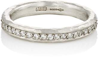 Malcolm Betts Women's White Diamond & Hammered Platinum Eternity Ring