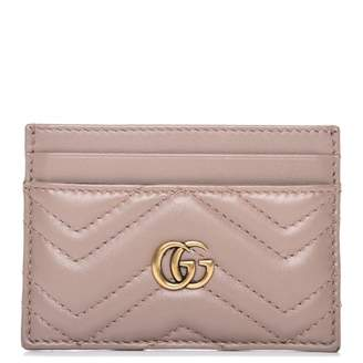 Gucci Marmont Card Case Monogram Matelasse GG Dusty Pink