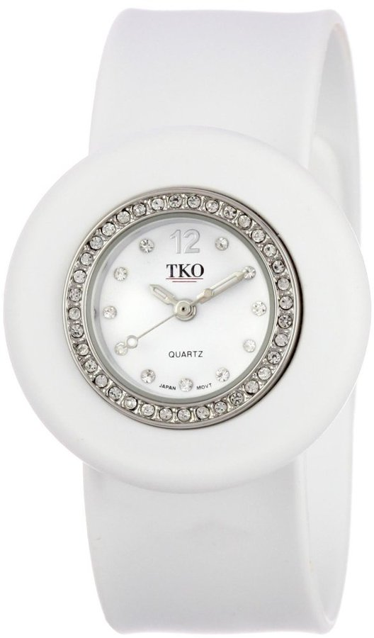 TKO ORLOGI Women's TK598-WT Slapper Ice Mini Crystal Bezel Slap Watch