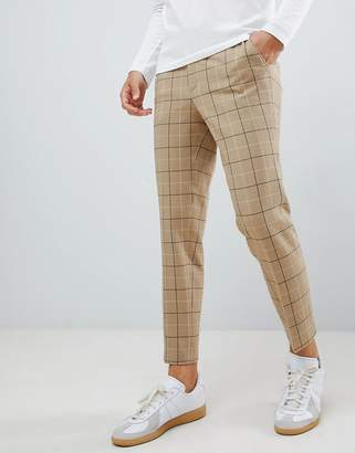 Asos DESIGN skinny smart PANTS in putty window pane check with drawcord waist