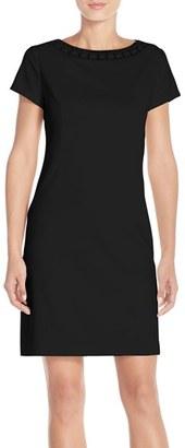 Women's Ellen Tracy Beaded Neck Ponte Sheath Dress $118 thestylecure.com