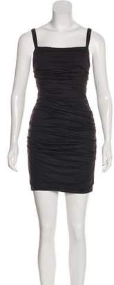 Dolce & Gabbana Virgin Wool Ruched Mini Dress