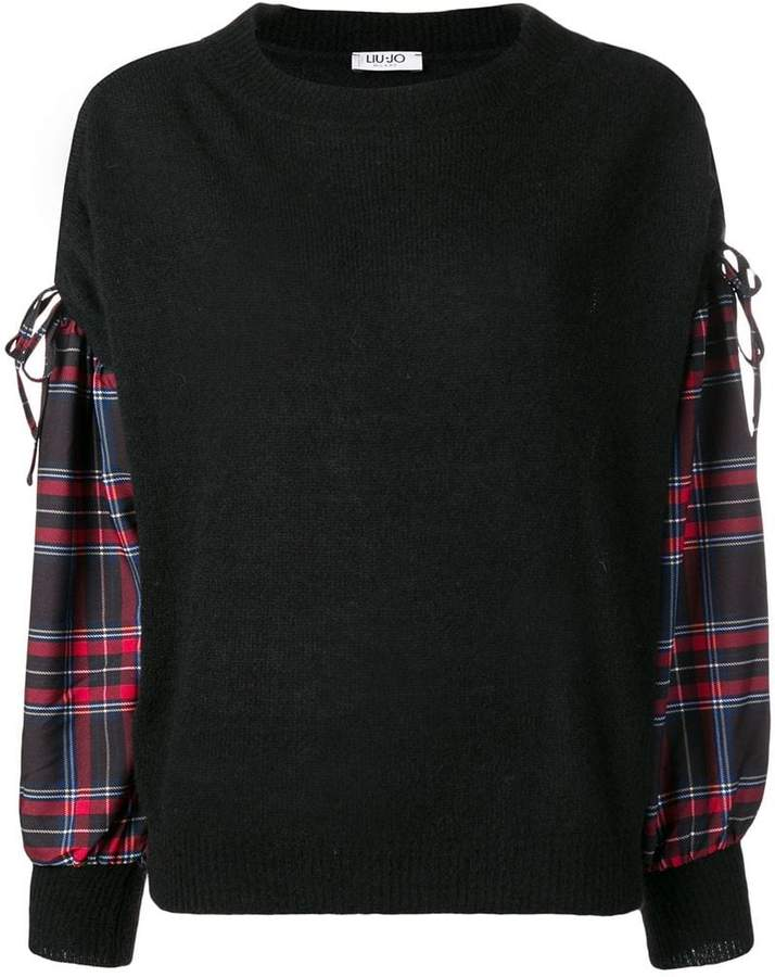 checked sleeve jumper