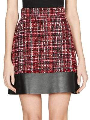Alexander McQueen Leather& Tweed Mini Skirt