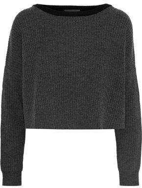 Tart Collections Cropped Ribbed Mélange Merino Wool Sweater
