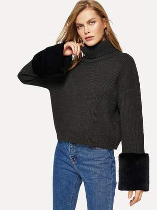 Shein Turtle Neck Faux Fur Sweater