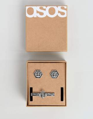 Asos Gift Set With Cufflinks And Tie Bar With Nautical Design