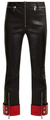 Alexander Mcqueen - Cropped Leather Biker Trousers - Womens - Black Red