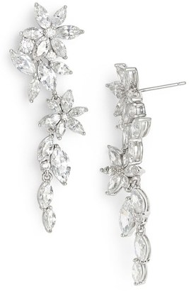 Women's Nadri Floral Crystal Linear Drop Earrings $130 thestylecure.com