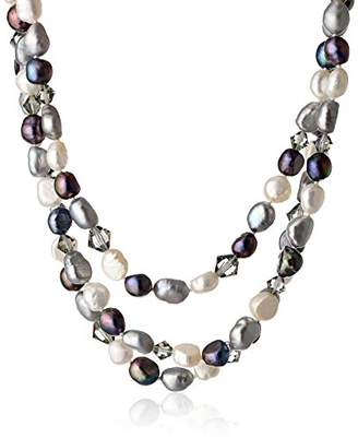 Swarovski 3 Row Sterling Silver Dyed Silver Tone Baroque Freshwater Cultured Pearl with Element Bicones Necklace