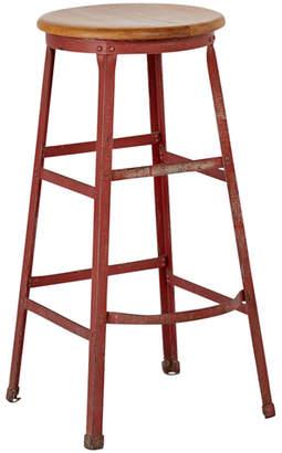 Rejuvenation Industrial Stool w/ Painted Red Steel Base