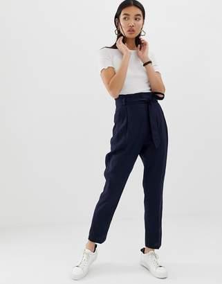 Asos Design DESIGN linen tie waist tapered peg pants