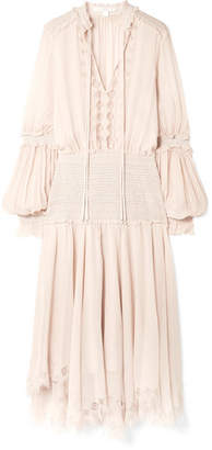 Jonathan Simkhai Smocked Lace-trimmed Silk-crepon Midi Dress - Pastel pink