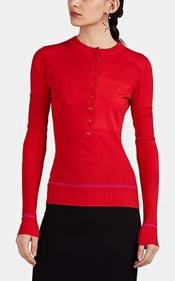 Proenza Schouler Women's Sica Mixed-Knit Silk-Blend Henley Sweater - Red