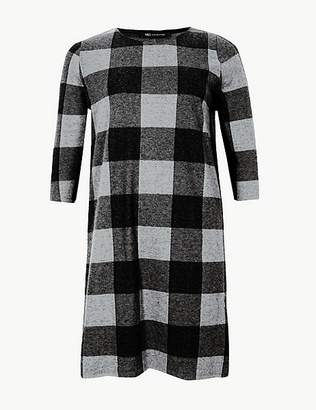 Marks and Spencer CURVE Checked Short Sleeve Shift Dress