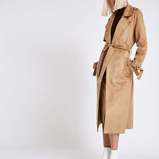 River Island Brown faux suede eyelet sleeve trench coat
