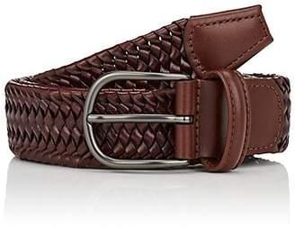Barneys New York Men's Woven Leather Belt - Brown