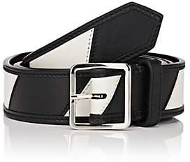 Calvin Klein Men's Striped Leather Belt - Black