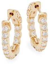 Saks Fifth Avenue Diamond 14K Yellow Gold Huggie Hoop Earrings