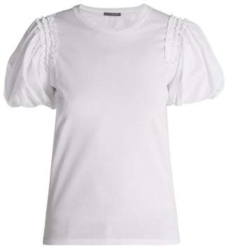 Alexander McQueen Puffed Sleeve Cotton T Shirt - Womens - White