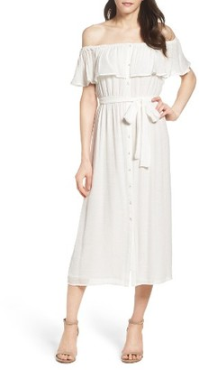 Women's Bardot Marina Ruffle Off The Shoulder Midi Dress $99 thestylecure.com