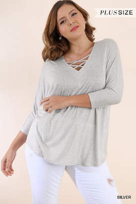 Umgee USA Knit Crossed Top