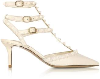 Valentino Rockstud Ivory Leather Ankle Strap Pumps