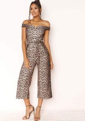 5e4c331e07b Missy Empire Missyempire Kora Leopard Print Belted Culotte Jumpsuit