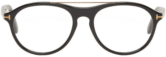 Tom Ford Black Pilot Shape Glasses