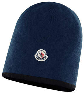 Moncler Kids' Virgin Wool Beanie Hat w/ Logo Patch