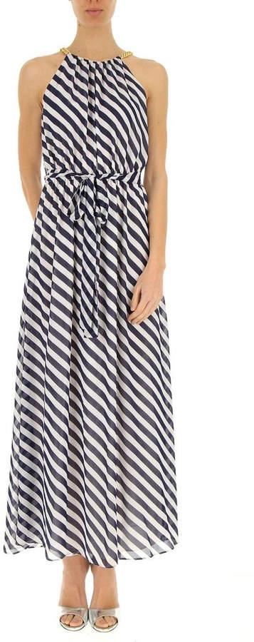 Michael Kors Diagonal Striped Georgette-Dress
