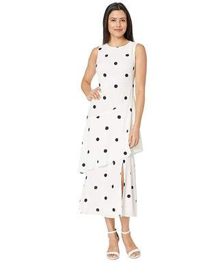 Lauren Ralph Lauren Depaul Dot Crepe Norris Sleeveless Day Dress
