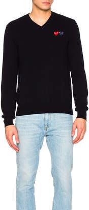 Comme des Garcons V Neck Double Emblem Sweater in Blue | FWRD