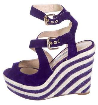 Brian Atwood Suede Wrap-Around Wedges
