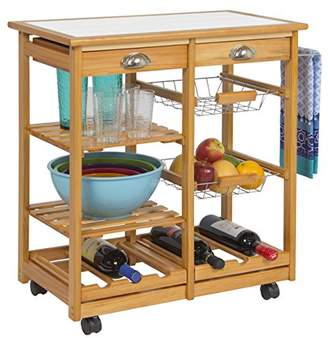 Best Choice Products Rolling Wood Kitchen Storage Cart Dining Trolley W/Drawers