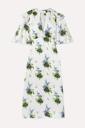 Les Rêveries Ruffled Floral-print Silk-satin Midi Dress - White