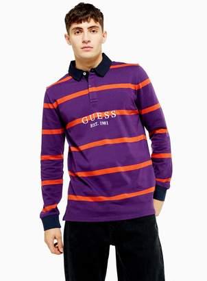 GUESS TopmanTopman Purple and Navy Stripe Cody Polo